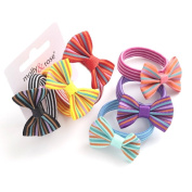 3 Stripey Bow hair bands for girls