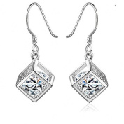 Hosaire Hot Fashion Silver New Cube Shining Crystal Earrings