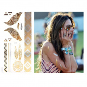 Xcellent Global Premium Metallic Temporary Tattoos 10 Sheet Shimmer ,Shiny Gold & Silver for Necklaces ,Bracelets , Arm Band and Ankle M-BT012