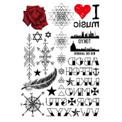 COKOHAPPY Temporary Tattoo , Red Rose Heart Compass Feather Alphabet Lucky-Star-Of-David Love Tattoo , Long-Lasting for Child Girl Boy Women
