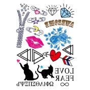 COKOHAPPY Temporary Tattoo , Red Lips Heart Cat Gem Flower Love Tattoo , Long-Lasting for Child Girl Boy Women