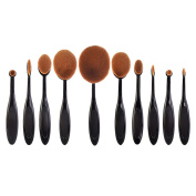 Set of 10pcs Foundation Oval Makeup Toothbrush Make Up Contour Bronzer Blusher Brushes Set