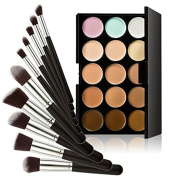 Enjoydeal 15 Colours Face Concealer Palette With 10pcs Cosmetic Brushes Black Silver