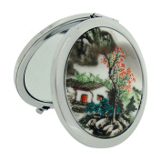 The Olivia Collection 7cm House Design Cermaic Silvertone Compact Travel Mirror SC1324