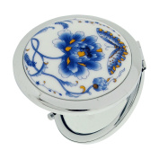 The Olivia Collection 7cm Blue Flower Design Cermaic Silvertone Compact Travel Mirror SC1323Mirror SC1321