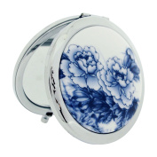 The Olivia Collection 7cm Blue Flower Design Cermaic Silvertone Compact Travel Mirror SC1321