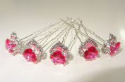 """High Quality Elegant """"Big Fuchsia Heart Shape Crystal with Clear mounted Crystals around"""" Diamante Wedding Bridal Prom Hair Pins Various colours 5 pins with Silver Bindi/Tattoo pack Combo by Trendz"""