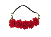 BEAUTIFUL RED ROSE HAIR GARLAND BANDEAUX - HAIR ACCESSORIES WEDDING FESTIVAL