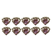 """High Quality Elegant """"Big Pink Heart Shape Crystal with Clear mounted Crystals around"""" Diamante Wedding Bridal Prom Hair Pins Various colours 10 pins with Silver Bindi/Tattoo pack Combo by Trendz"""