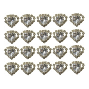 "High Quality Elegant ""Big Clear Heart Shape Crystal with Clear mounted Crystals around"" Diamante Wedding Bridal Prom Hair Pins Various colours 20 pins with Silver Bindi/Tattoo pack Combo by Trendz"