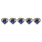 "High Quality Elegant ""Big Dark Blue Heart Shape Crystal with Clear mounted Crystals around"" Diamante Wedding Bridal Prom Hair Pins Various colours 5 pins with Silver Bindi/Tattoo pack Combo by Trendz"