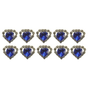 "High Quality Elegant ""Big Dark Blue Heart Shape Crystal with Clear mounted Crystals around"" Diamante Wedding Bridal Prom Hair Pins Various colours 10 pins with Silver Bindi/Tattoo pack Combo by Trendz"