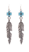 Antique Silver Feather and Turquoise Flower Drop Hook Earrings