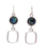 Antique Silver Circle and Square Duo Drop Hook Earrings with Sea Abalone Paua Shells Geometric Design - Matte Finish