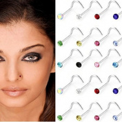 "Hosaire 30pcs/set Allergy Free Stainless Steel Multicolor ""S"" Shape Nose Rings"