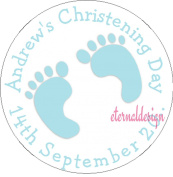 Eternal Design 15 x 50mm Glossy Christening Day White Stickers CDCS 12