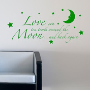 LOVE YOU TO THE MOON AND BACK AGAIN KIDS NURSERY WALL STICKER 90 green