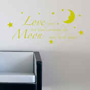 LOVE YOU TO THE MOON AND BACK AGAIN KIDS NURSERY WALL STICKER 90 yellow