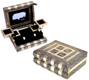Regal Jewellery Box Organiser Large Wooden Keepsake Chest with Elephant Embossed Brass Texture