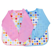 Blulu Unisex Baby Waterproof Sleeved Bib Long Sleeve Bib for Infant Toddler, Set of 2