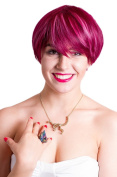 Prettyland C540 - short layered Pixie hair fashion wig - Rot with pink wisp