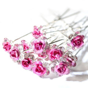 Jewellery of Lords 10 Clear Czech Crystal Pink Metal Rose Flower Wedding Bridal Bride Prom Hair Bobby Pin