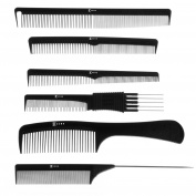 Kobe Professional Hairdresser's Set of 6 Carbon Fibre Combs in Comb Wallet