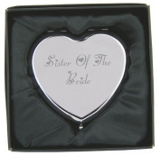 Engraved Sister of the Bride Heart Compact Hand Mirror with Gift Box!