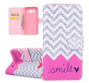 Samsung Galaxy J5 Case, ISAKEN Luxury Elegant Printing Drawing Design Pattern Case Galaxy J5(2016 version) Magnetic Flip Protective Case Executive Wallet Bool Style PU Leather Cover with Credit Card Holder slots - Smile stripe