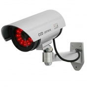 Masione® Outdoor Fake / Dummy Security Camera with 30 Illuminating LED Light (Silver) CCTV Surveillance