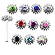 20 Pieces Mix Colour 0.6x8MM 925 Sterling Silver Coiled Flower Straight End Nose Pin Stud