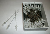 72 white pearl pins head/hat/corsage/millinery wedding