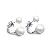 Elegant 925 Sterling Silver Freshwater Cultured Pearl Front Back Stud Earrings