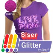 SISER GLITTER Heat Transfer Vinyl (Tshirt HTV) 50cm x 30cm - HOT PINK