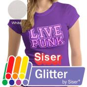 SISER GLITTER Heat Transfer Vinyl (Tshirt HTV) 50cm x 30cm - WHITE