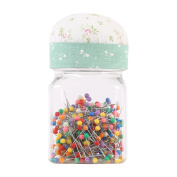 Neoviva Plastic Storage Jar Containers with Pin Cushion Lid for Quilting Pins, 300 Ball Head Pins Included, Floral Mist Green
