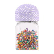 Neoviva Plastic Storage Jar Containers with Pin Cushion Lid for Quilting Pins, 300 Ball Head Pins Included, Polka Dots Orchid Bloom