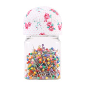 Neoviva Plastic Storage Jar Containers with Pin Cushion Lid for Quilting Pins, 200 Ball Head Pins Included, Floral Fuchsia Rose