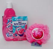 Mr. Bubble Bath Bundle Magic Snap Pop Fizz Sponge Hypo-Allergenic Tear Free
