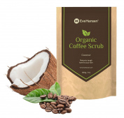 Organic ROBUSTA COFFEE SCRUB w/ Coconut Oil and Vit. E - The best natural body scrub by Eve Hansen. Softens skin instantly, reduces cellulite, tightens skin, lightens dark circles under the eyes - 210ml