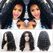 Heat Resistant Fibre Hair mermaid black colour lose curl water wave Synthetic lace front wig for women.