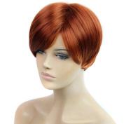 DENIYA Red Brown Short Straight Wigs with Bangs
