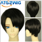 ATOZWIG@25cm Short Straight Attack on Titan Levi Rivaille Cosplay Wig Black Party Hair