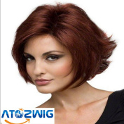 ATOZWIG. New Synthetic Wigs Short Fluffy Oblique Bangs Wine Brown Hair Wig for African Americans Women.