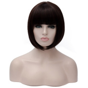 Flovex Short Straight Bob Wig Women Sexy Natural Costume Party Daily Hair with Wig Cap