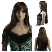MELADY®(Free Cap) Fashion Cosplay Brown Super-Long Straight Synthetic Women Girls Lady Hair Replacement Wigs