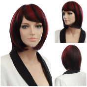 MELADY®(Free Cap) Fashion Casual Black-Red Short Straight BOB Synthetic Women Girls Lady Hair Replacement Wigs