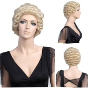 MELADY®(Free Cap) Fashion Casual Lawyer Blonde Short Curly Synthetic Women Girls Lady Hair Replacement Wigs