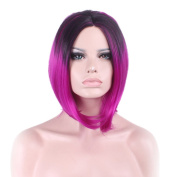 "Rise World 15 "" 38 cm Women's Short Bob Carve Full Hair Wig Two Tone Black Root to Rose Red Ombre"