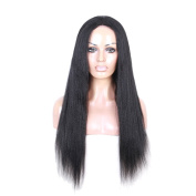 Italian Yaki Straight Natural Colour Brazilian Human Hair Wig Full Lace Front Wig Kinky Straight Wigs